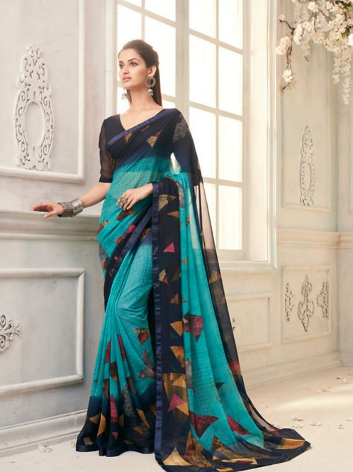 AASHI - Light Blue Georgette Saree with Lace