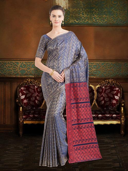 Beautiful Festival Silk Blue Saree