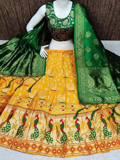 Striking Banarasi Yellow Lehenga