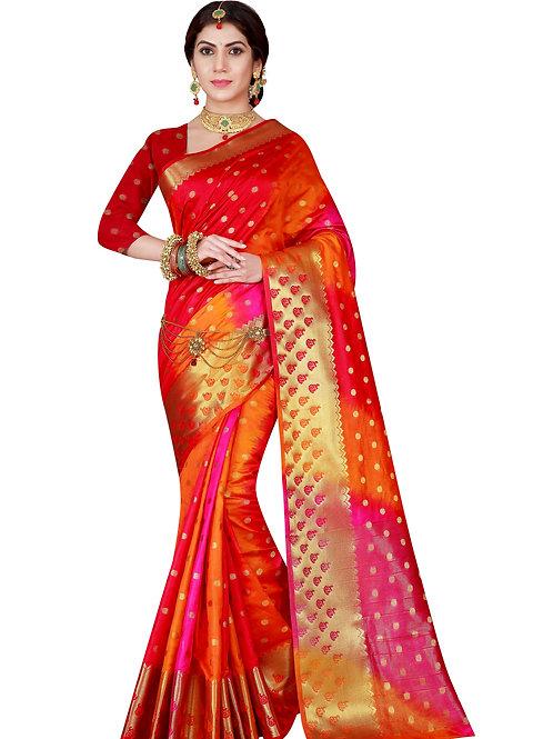 Pachrangi Red Raw Soft Silk Saree Festivity