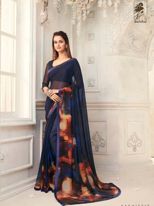 AASHI - Blue Georgette Saree with Lace