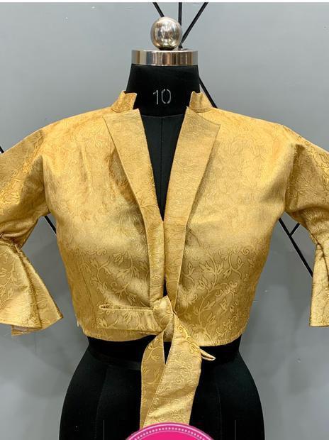 Partywear Designer Golden Silk Step Cut White Blouse 02