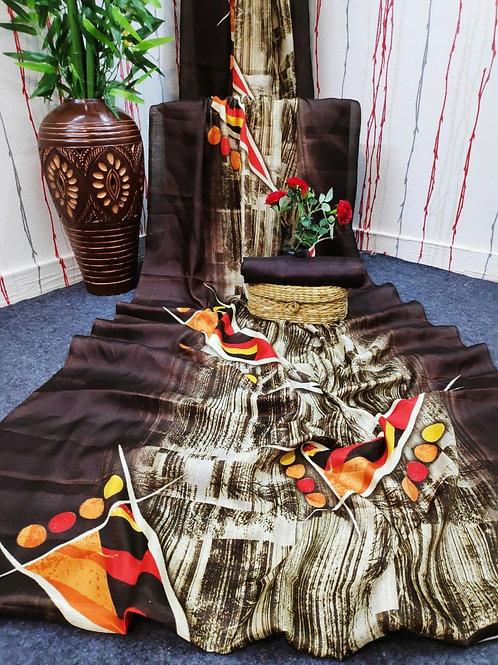 Digital Print Cotton Linen Saree - 02