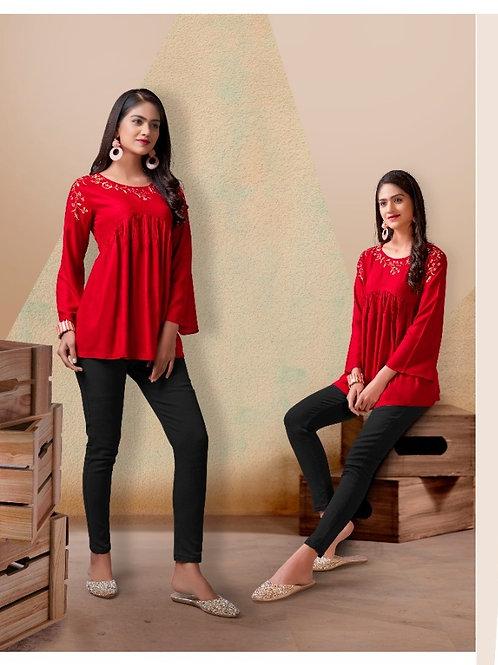 Fabulous Heavy Rayon Trendy Red Short Kurti