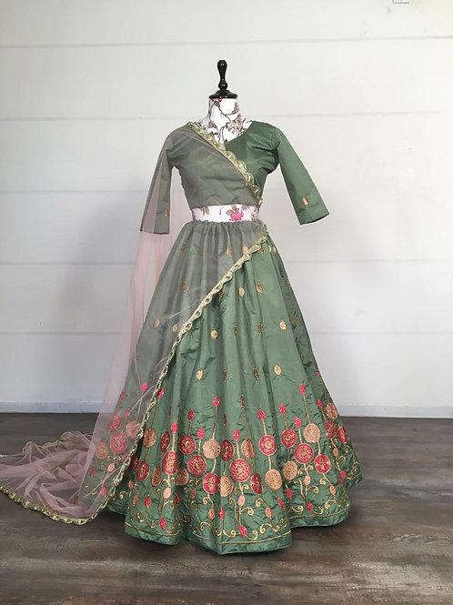 Beautiful Embroidered Lehenga Choli Set Petal Green