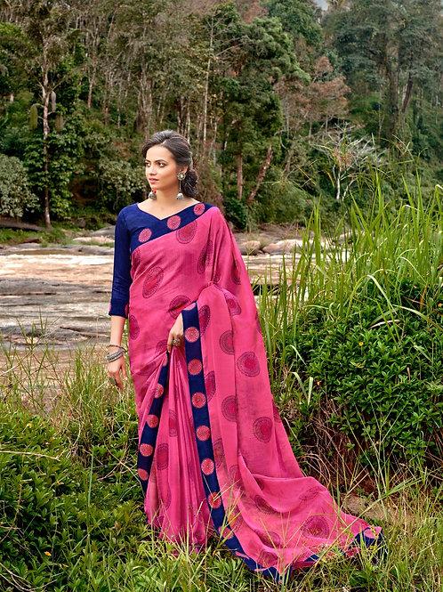 KASHVI - Marvela Pink Chiffon Saree