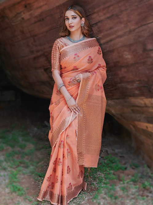 RUCHI -  Charmy Orange Soft Linen Saree