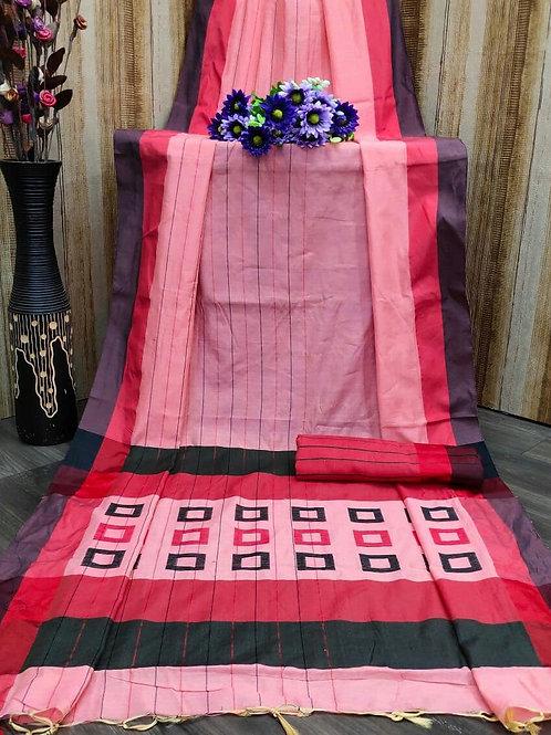Checkerd Summer Special Pink Saree