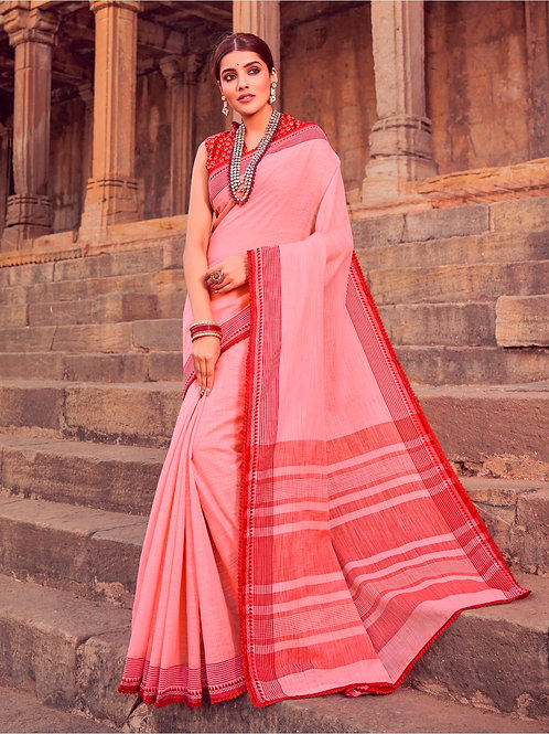SOFT LINEN SILK SOFT PINK SAREE WITH BEAUTIFUL BLOUSE + WEAVING LACE