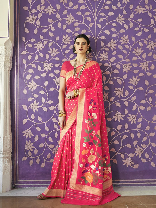 Royal Rajasthan Kollection Kawach Silk Pink Saree