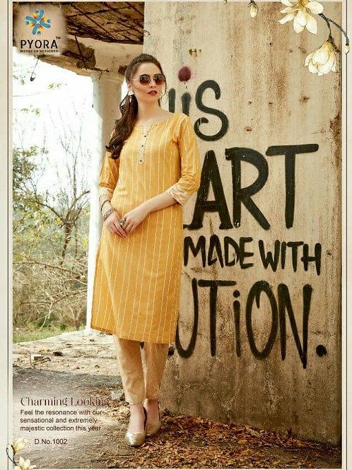 PYORA - Handloom Cotton Yellow Kurti with Pants