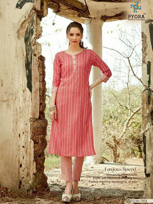 PYORA - Handloom Cotton Pink Kurti with Pants