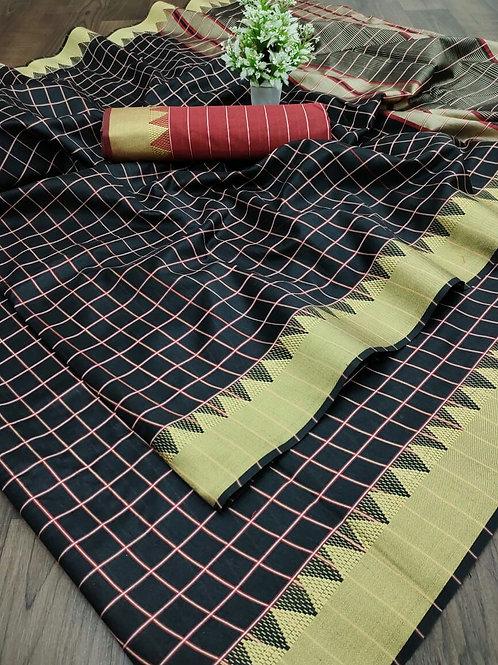 Cotton Silk Saree with Weaving Jari Border Black Chx