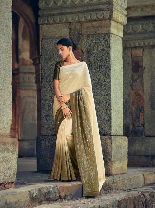 Sequence work Partywear Olive Green Saree