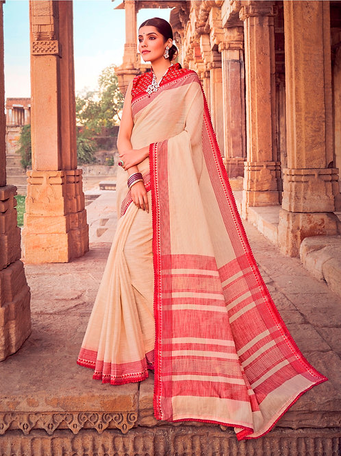 SOFT LINEN SILK CREAMY SAREE WITH BEAUTIFUL BLOUSE + WEAVING LACE