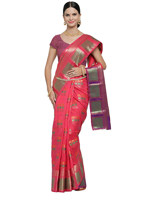 Tradition Rapid Silk Pink  Saree
