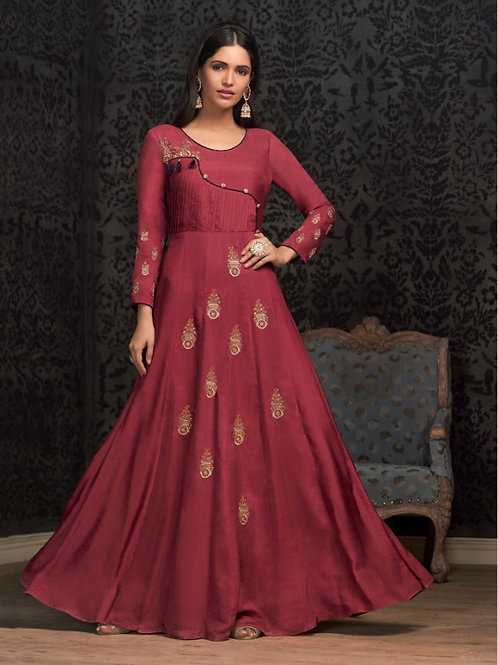 NAVYA - Beautiful Heavy Embroideried Gown (Wine)