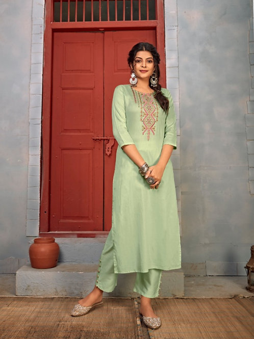 Summer Designer Collection Heavy Rayon Green Kurti with Pant