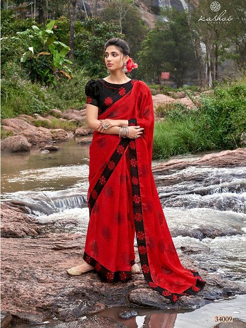 KASHVI - Rich Red Chiffon Saree
