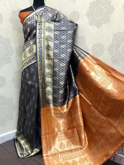 SARATHI - Banarasi Soft Silk Saree Blue