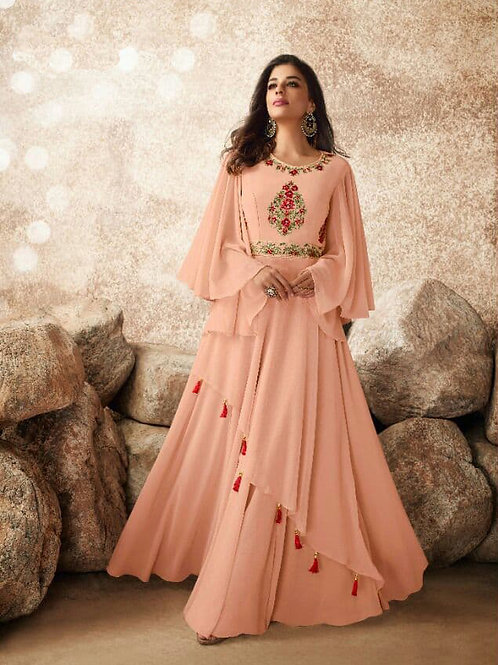 Couture Almond Pink Heavy Fox Georgette Gown