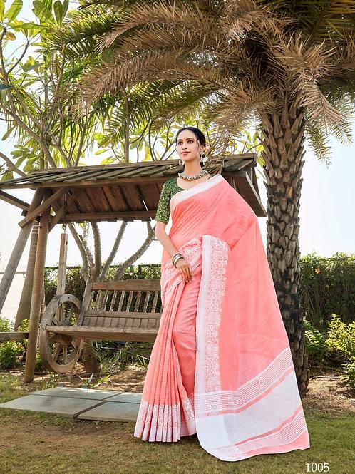 Linen Saree Lucknowi Border Neon Red Saree