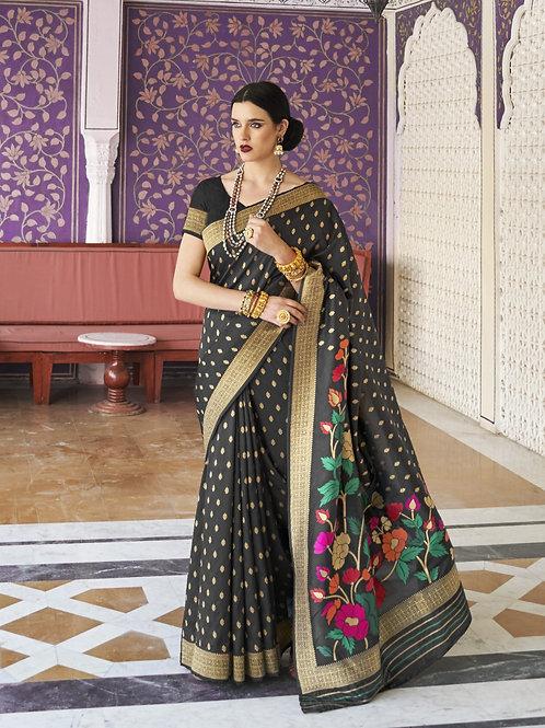 Royal Rajasthan Kollection Kawach Silk Black Saree