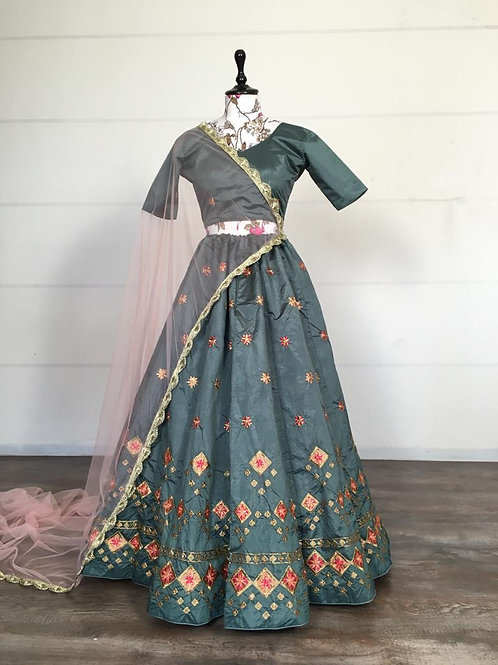 Beautiful Embroidered Lehenga Choli Set Greish Green