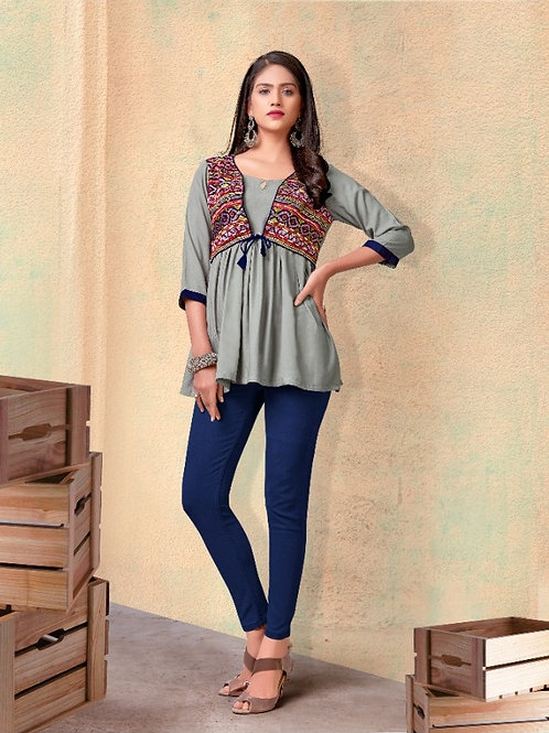Fabulous Heavy Rayon Trendy Grey Short Kurti