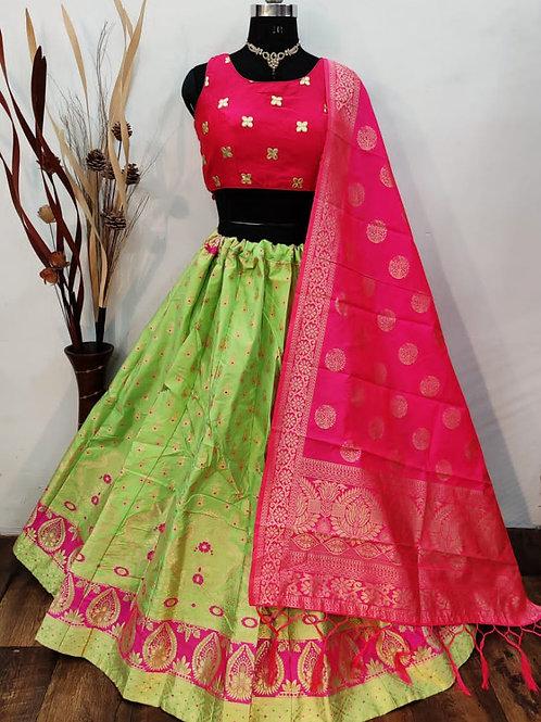 Gorgeous Banarasi Bright Green Lehenga
