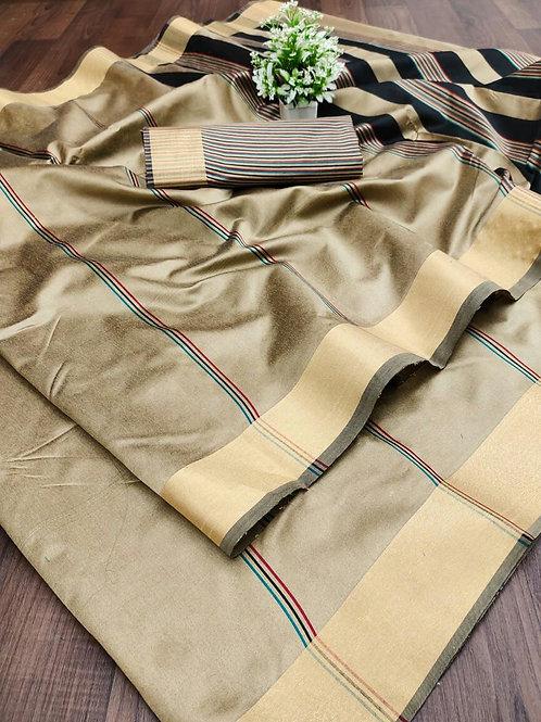 Cotton Silk Saree with Weaving Jari Border Goldylox