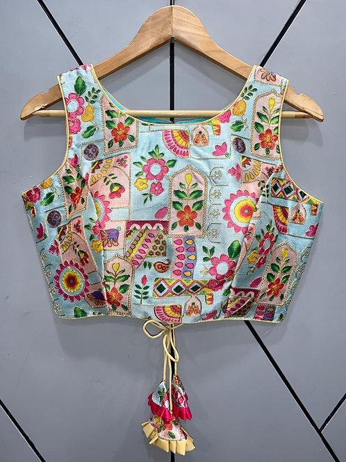 Floral Digital Designer Thread Work Blouse 10
