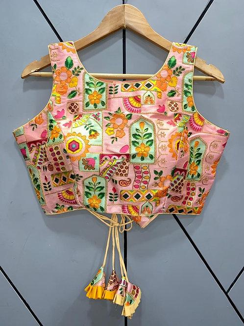 Floral Digital Designer Thread Work Blouse 02