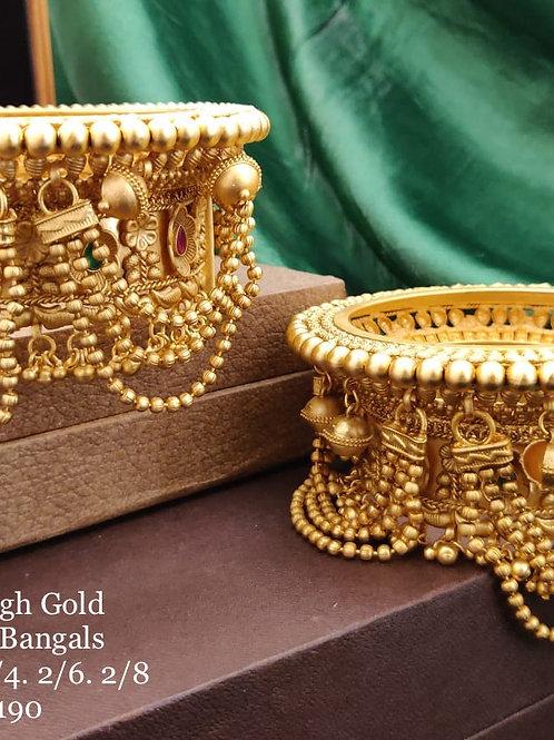 Brass High Gold Antique Bengles Heavy Latkan No 190