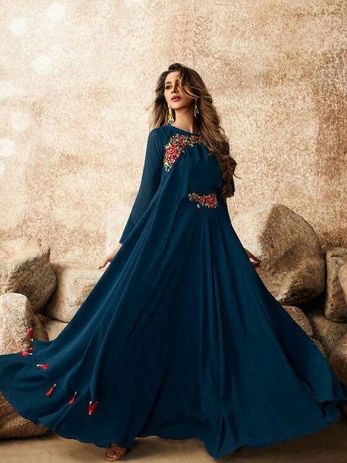 Exquisite Blue Heavy Fox Georgette Gown