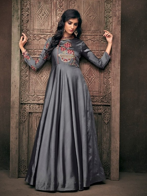 Silverstone Grey Partywear Vtriva Satin Gown With Embroidery Work - D.No 1202