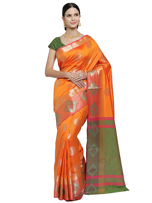 Tradition Kanchipuram Deep Yellow - Rocket Silk Saree