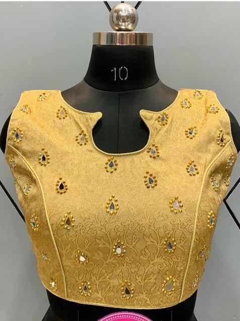 Partywear Designer Golden Silk Step Cut White Blouse 04