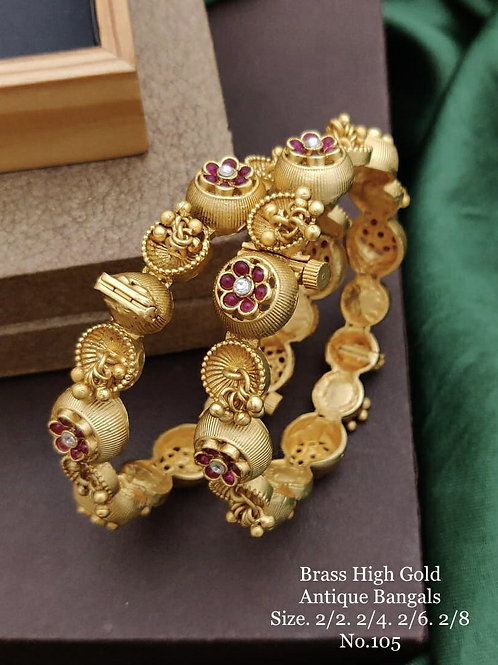 Brass High Gold Antique Bengles Latkan No 105