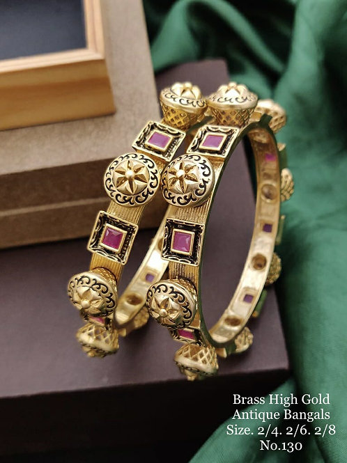 Brass High Gold Antique Bengles Oxidized No 130