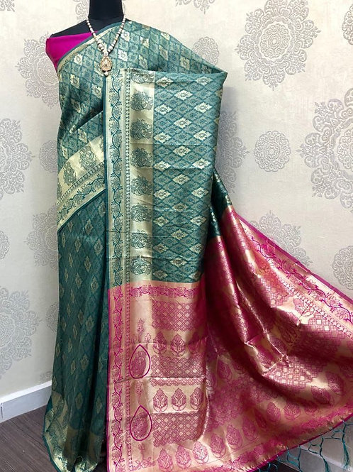 SARATHI - Banarasi Soft Silk Saree Green