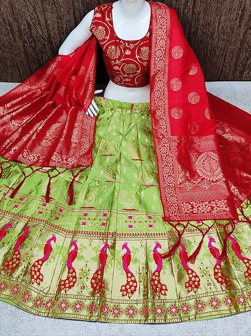 Striking Banarasi Bright Green Lehenga