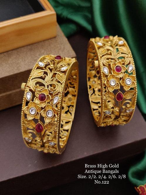 Brass High Gold Antique Bengles Floral Design No 122