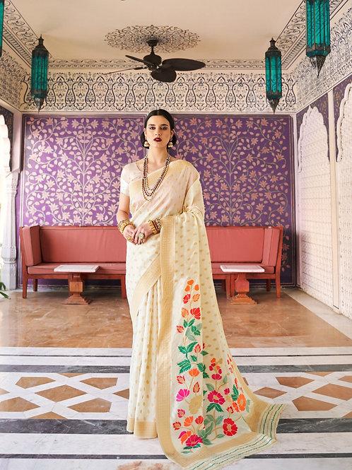 Royal Rajasthan Kollection Kawach Silk Cream Saree