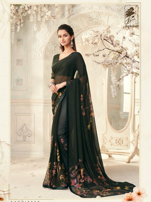 AASHI - Black Georgette Saree with Lace