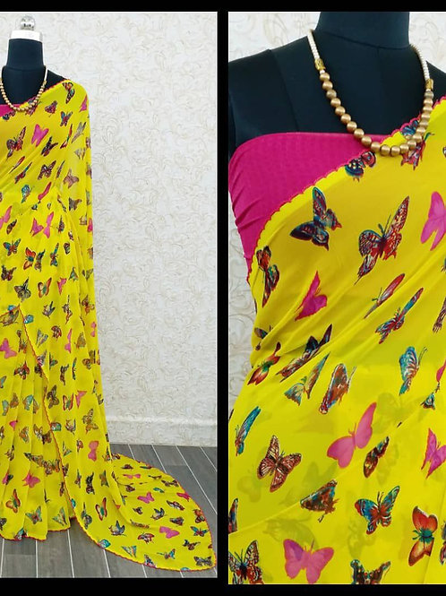 Butterfly - Yellow Pink Georgette Saree with Kroso Border