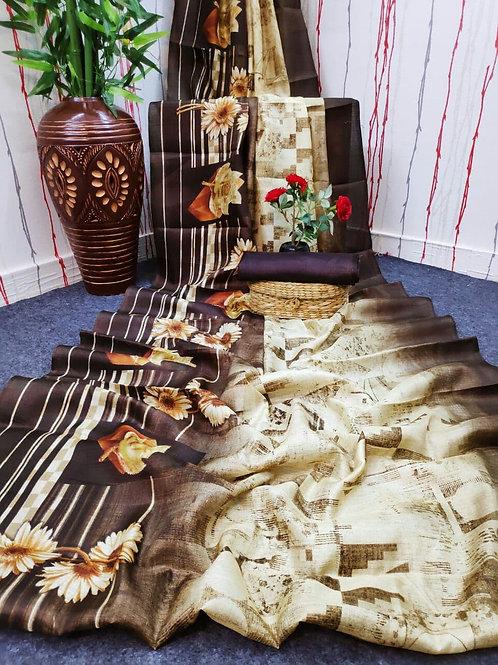 Digital Print Cotton Linen Saree - 06