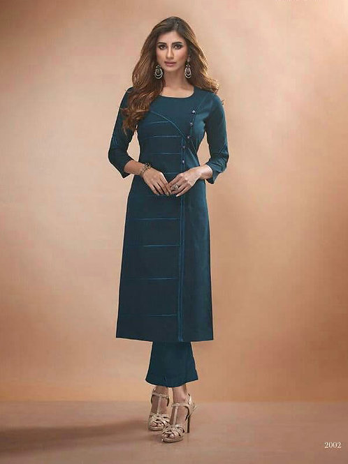 CLAIRE - Viscos Silk D.Blue Kurti (Only Kurti)