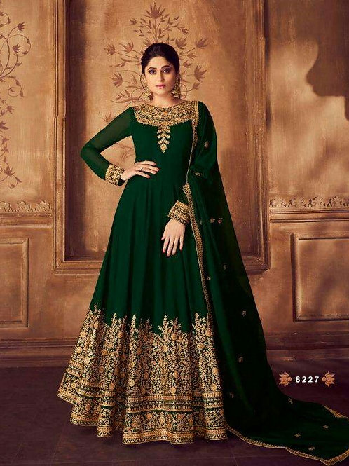 Phenominal Gorgeous Embroidered Green Gown