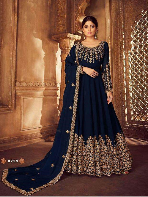 Phenominal Gorgeous Embroidered Blue Gown